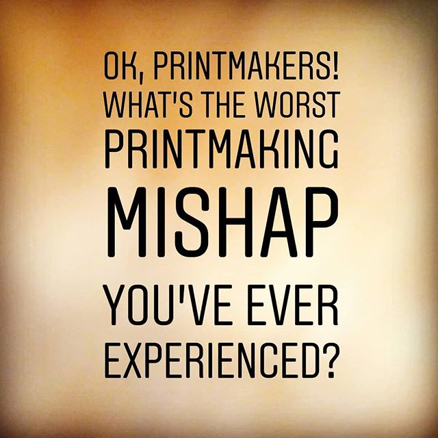 Seems to be my theme today. What's the biggest printmaking mishap you've experienced? Share your story in the comments! 😋 . . . #justprintmaking #art #artist #artistsofinstagram #print #printmaking #linocut #blockprint #woodcut #etching #intaglio #screenprint #lithography #story #storytime #questionoftheday #laugh