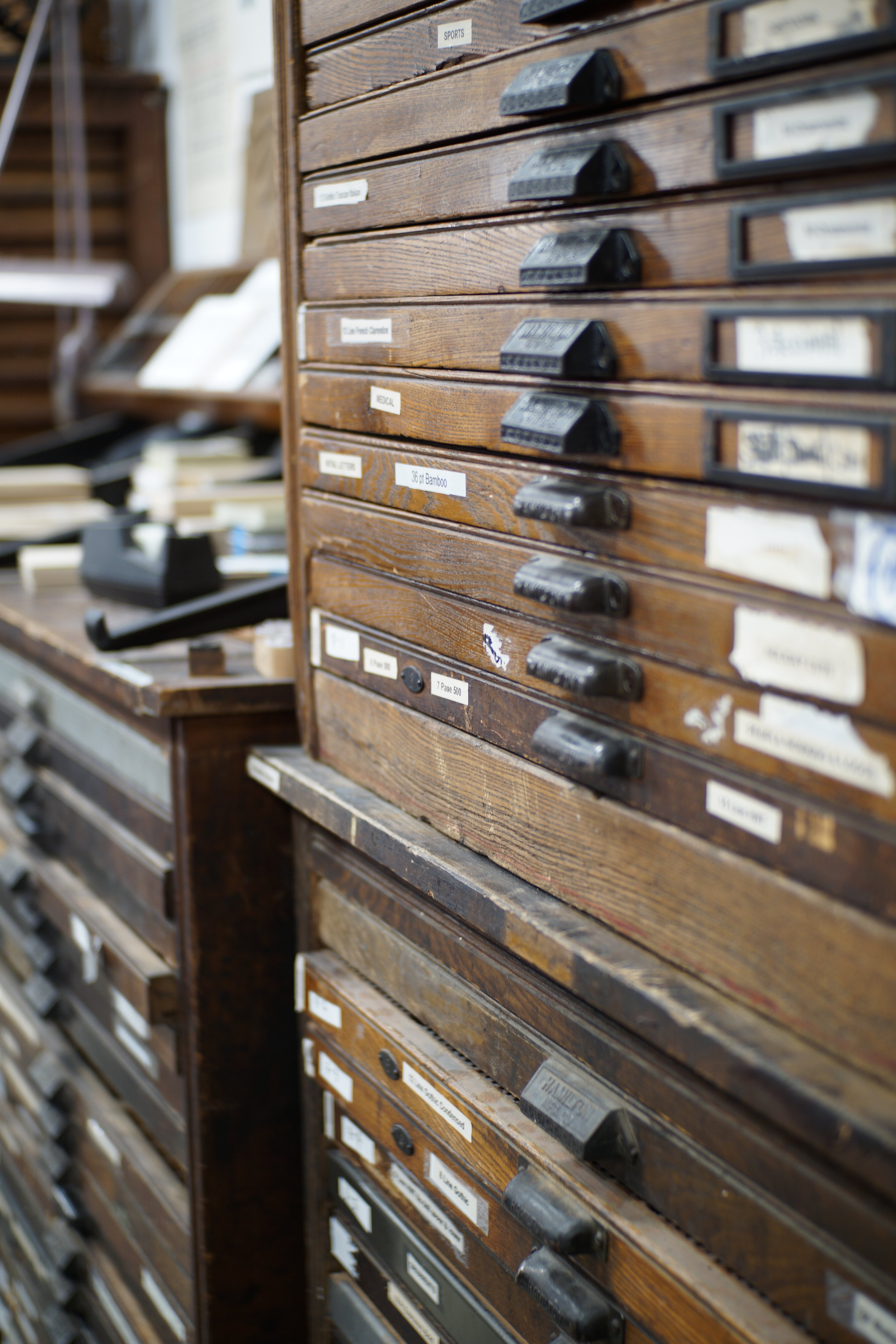 SO MANY DRAWERS!!! Tons of Letterpress Type! Wood, brass, aluminum, foundry. Such an amazing collection!
