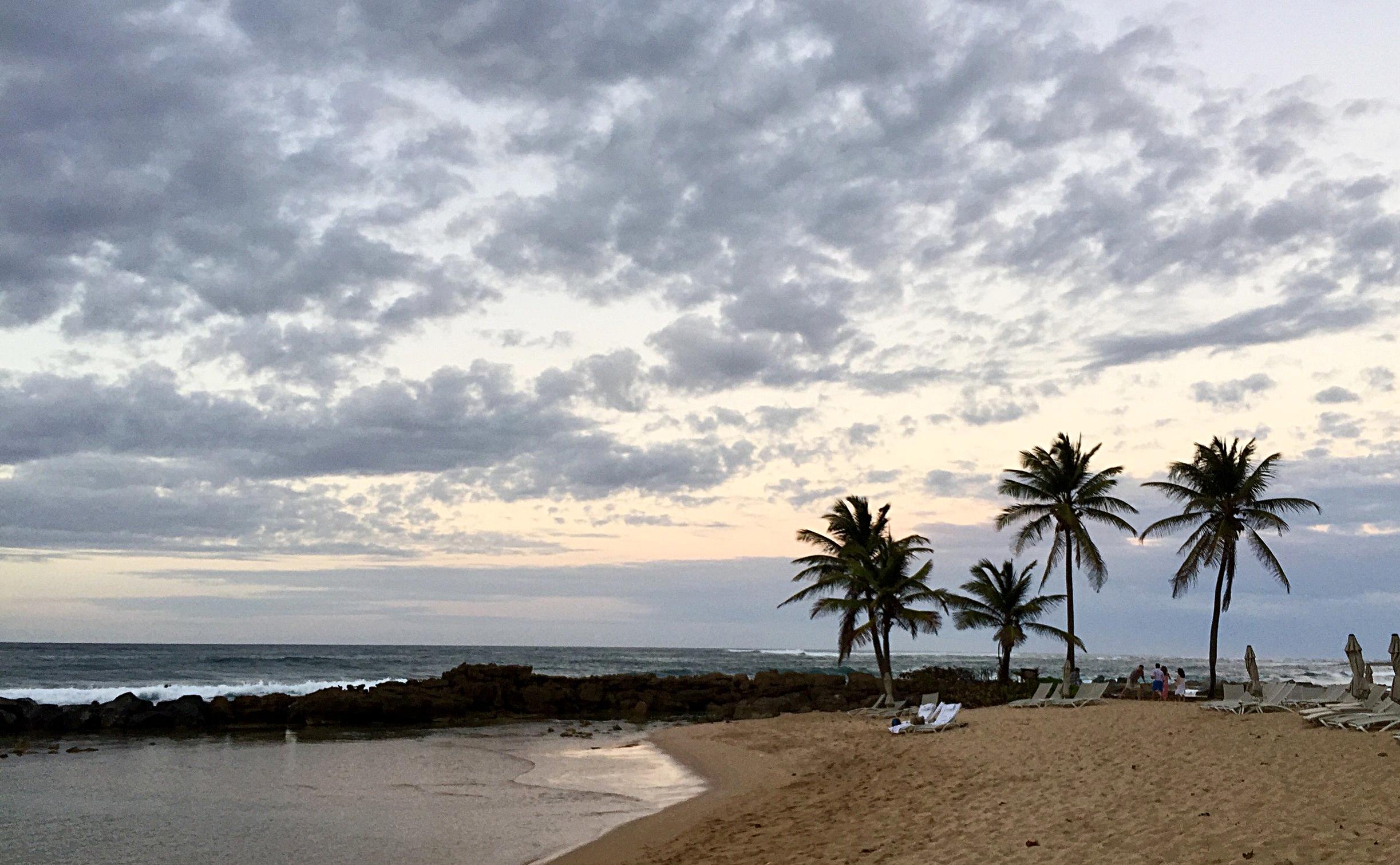 Sunset views from dinner at the Dorado Beach, a Ritz-Carlton Reserve Resort