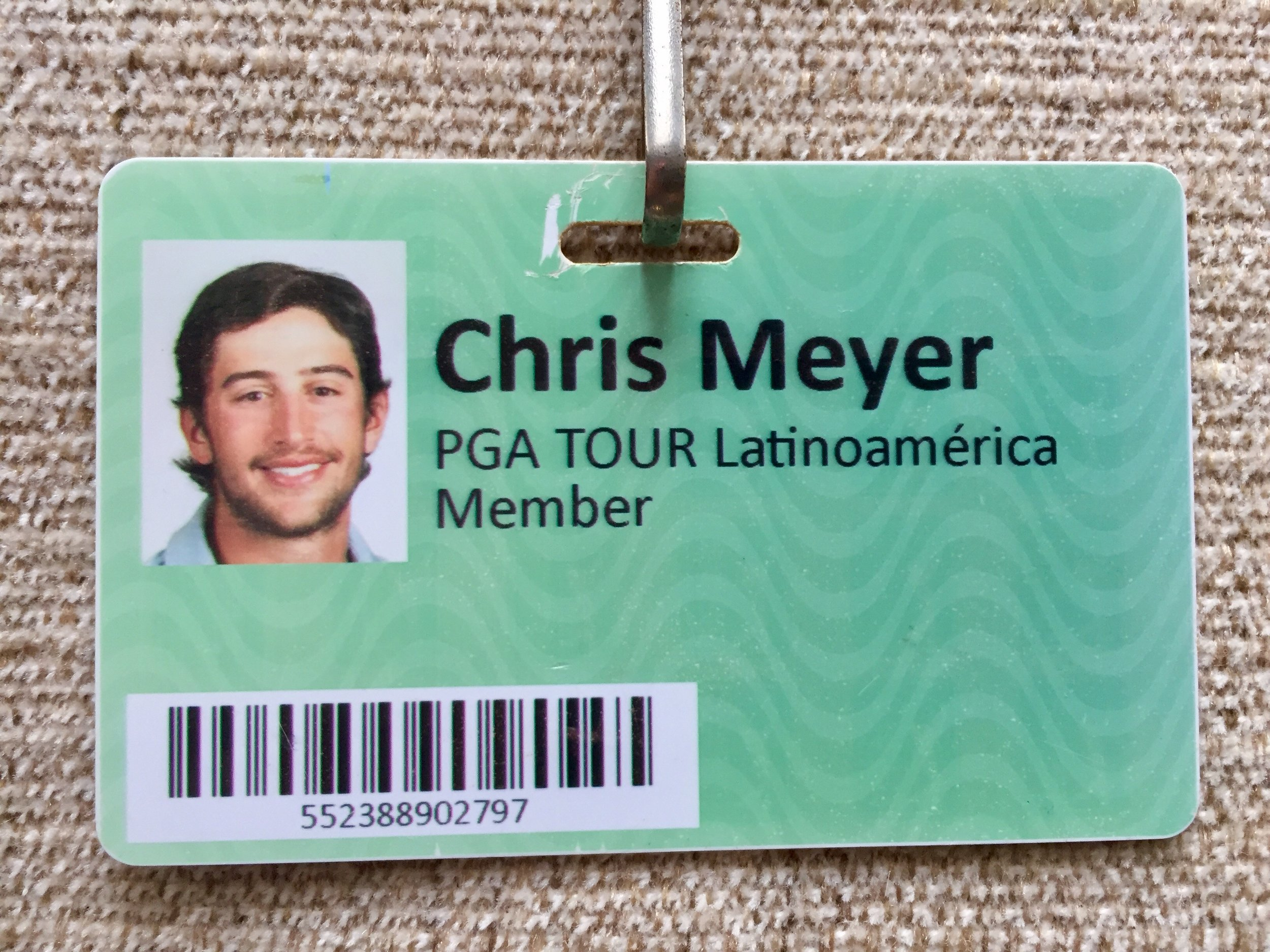 Chris's Tour Card from his first year on PGA Tour LatinoAmerica