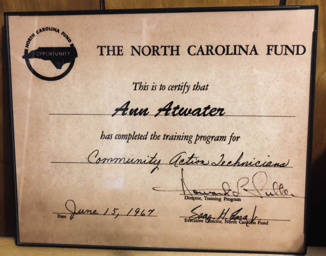 Certificate from Ann Atwater's Community Action Training with the North Carolina Fund.