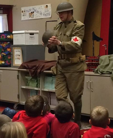 Museum Educator Joe Horvath presenting a lecture on World War I