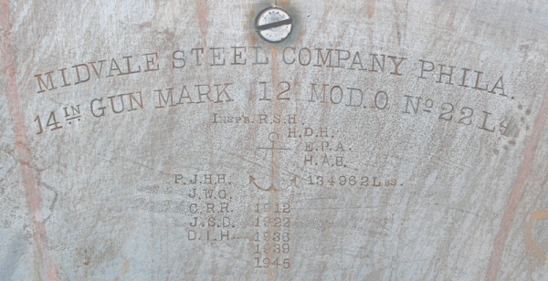 Data plate from the breech of the port gun just before primer was applied