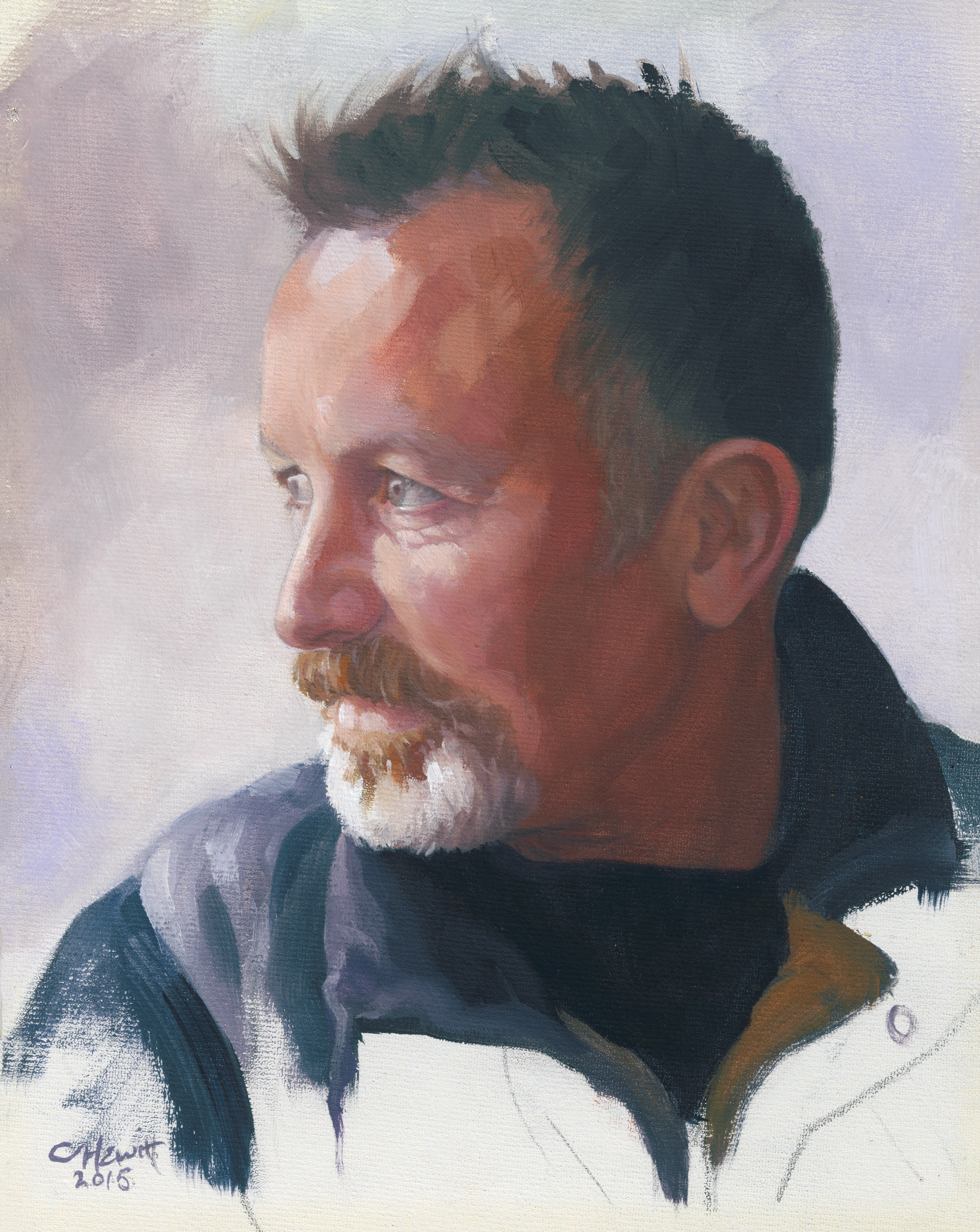 'Ian', oil on canvas board, 29x25cm. Exhibited at the Scottish Portrait Awards at the Scottish Arts Club, Edinburgh.