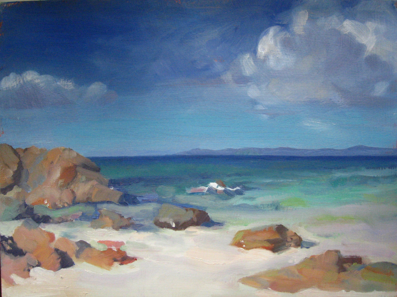 'Iona looking towards Sky' - oil on board 23x30cm