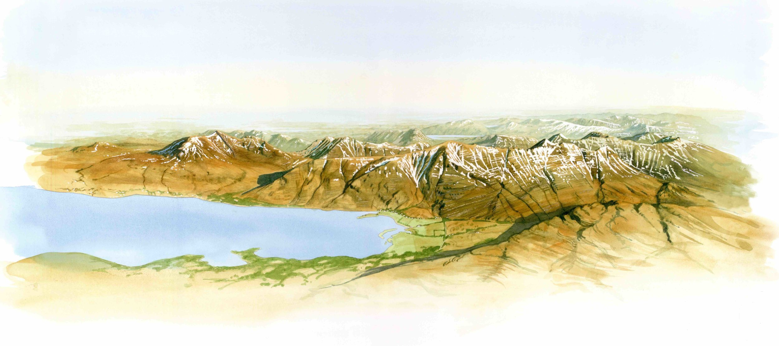 "'Torridon Range'  for National Trust for Scotland, watercolour 20""x14"""