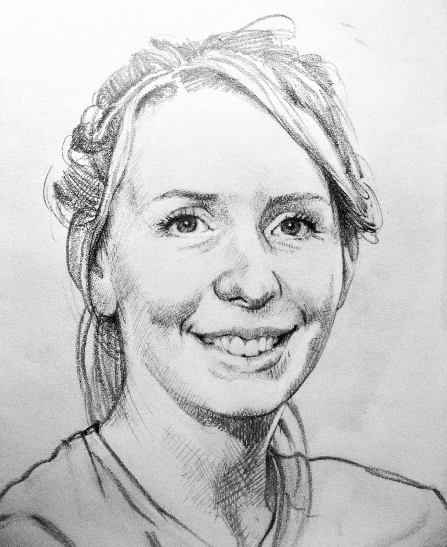 Anna - hair up. Pencil portrait