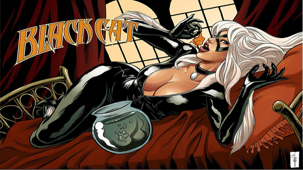 Black Cat's Powers/Skills : safe-cracking, gymnastics, bad luck (seriously), and fucking.  Weaknesses : getting fucked over by dudes she fucks. Every. Goddamn. Time.