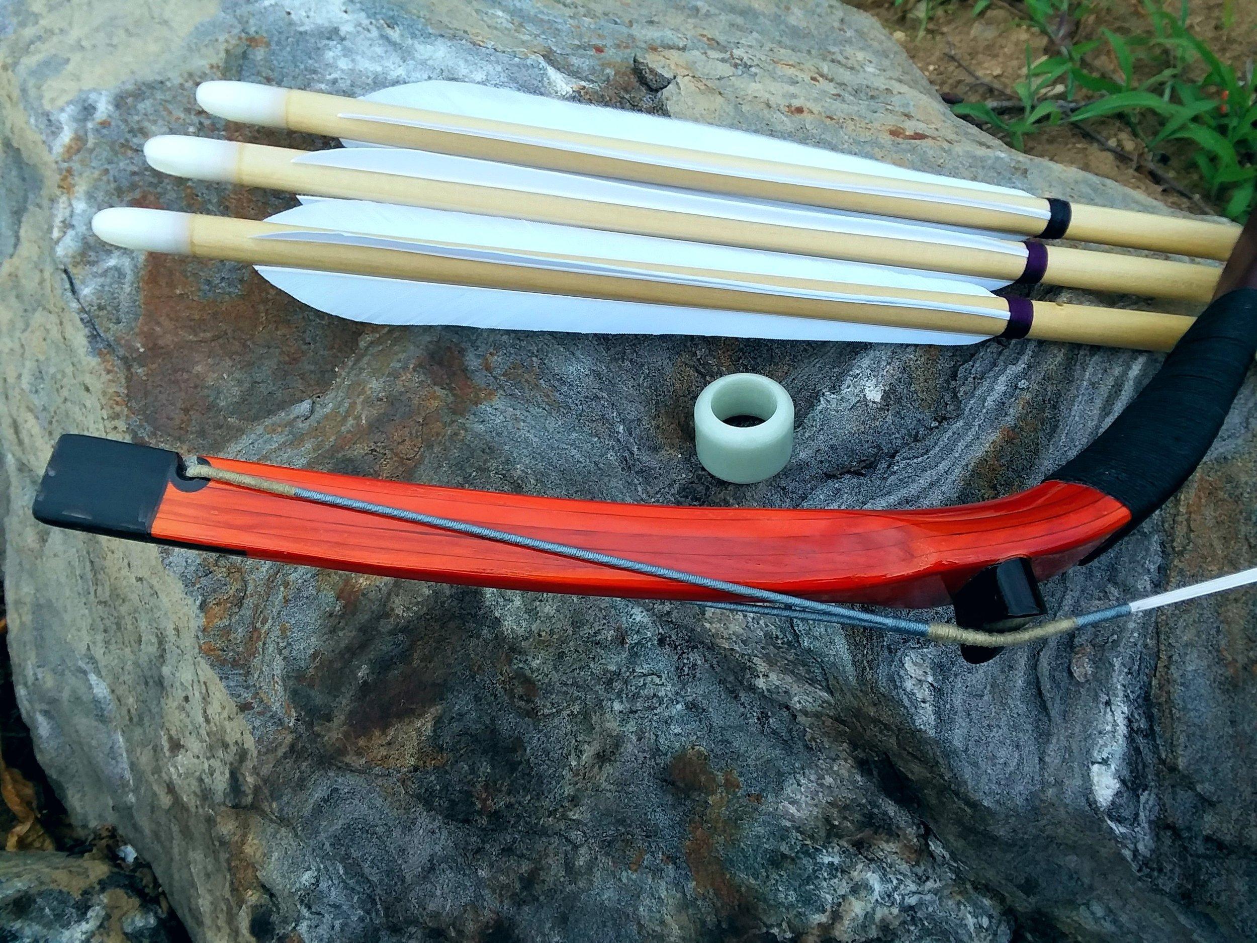 JZW Manchu Bow, Manchu Thumb Ring, Manchu arrows w/ fletching cut on Manchu jig.