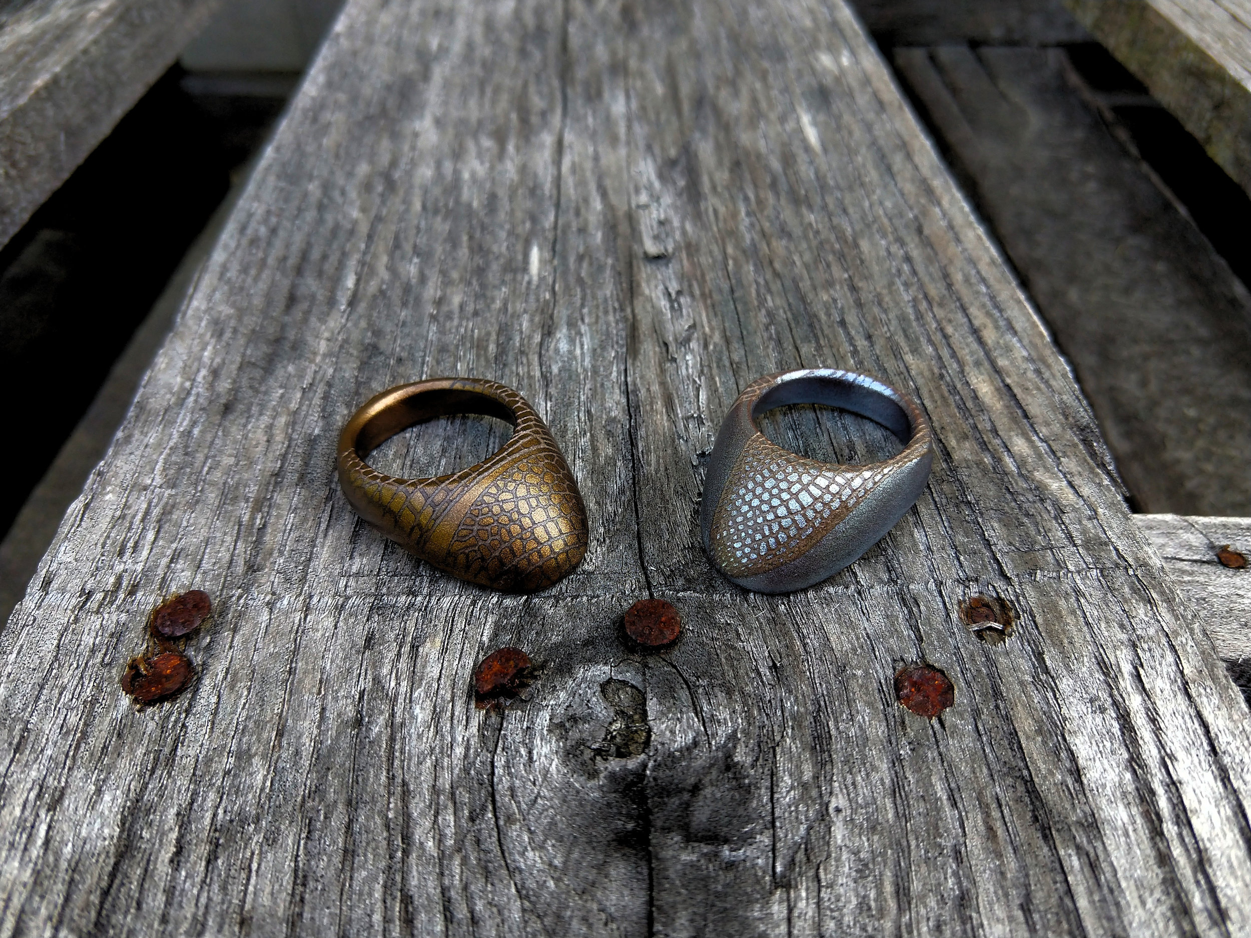 Ottoman rings bronze and silver over metallic copper with dragonfly patterning