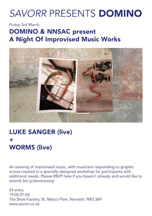 Supporting events: Birmingham Arts Talk, NNSAC Graphic Scores Workshop, DOMINO +NNSAC Music Evening, Liz Ballard Workshop, DOMINO Open Film.
