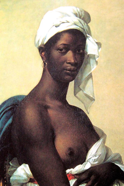 Marie-Guillemine Benoist,  Portrait of a Negress,  1800  Oil on canvas, 81 x 65 cm (31½ × 25½ in)  Musée du Louvre, Paris