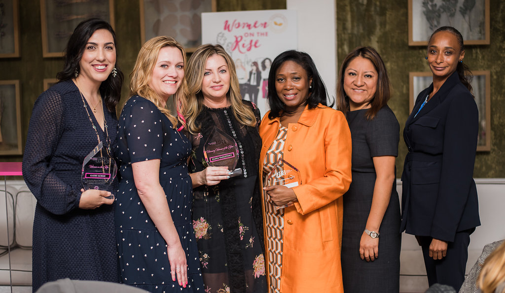 From left to right: Kathy Schuh, 2018 Woman on the Rise. Carrie MurRay, founder of BRA. Elena Vasilevsky, 2018 Visionary Woman of the Year,. Toni Purry, 2018 Empowerment Leader. Xochitl Hernandez, Director of OUR BENEFICIARY,   Dress for Success . Catherine, a Dress for Success Alumni.