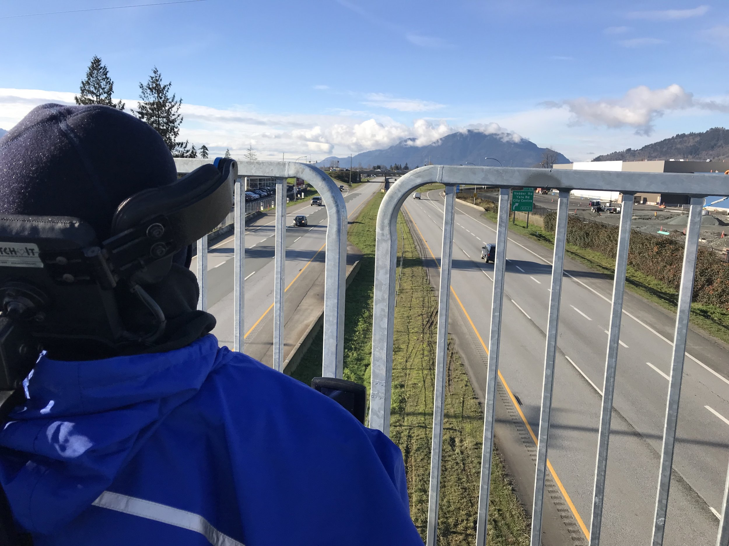 Jim overlooking the Trans Canada Highway on the newly installed pedestrian bridge