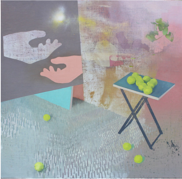 """Dropping four balls on the floor to get a square  48"""" x 48"""", oil on linen laid on panel"""