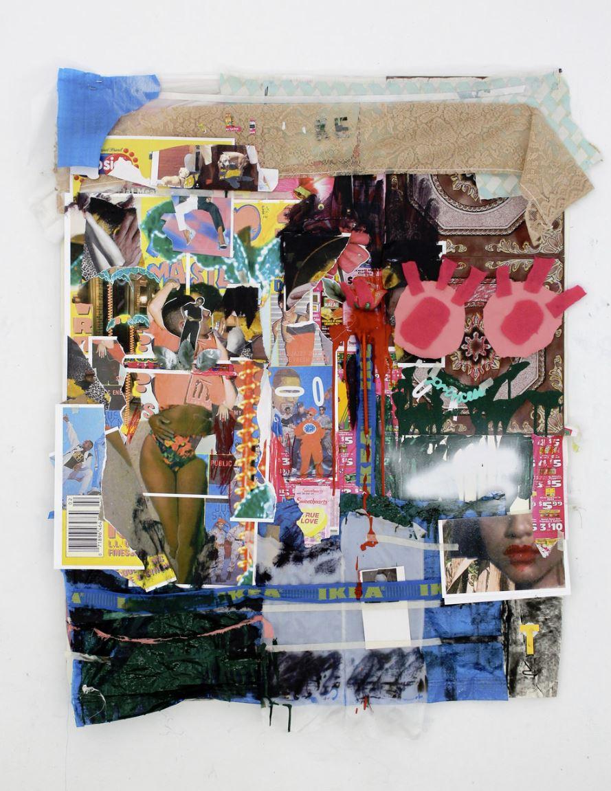"Hard to See (Juicy)  Paper, fabric, tarp, enamel, charcoal, oil paint, linoleum tile, on paper  30""x48"""