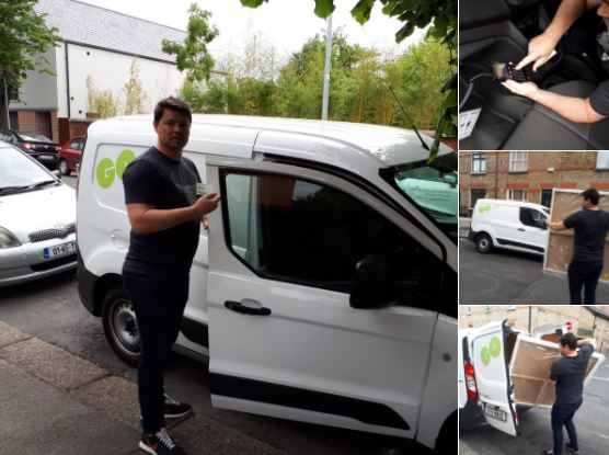 Here's me on my most recent canvas buying expedition in the GoCar van.
