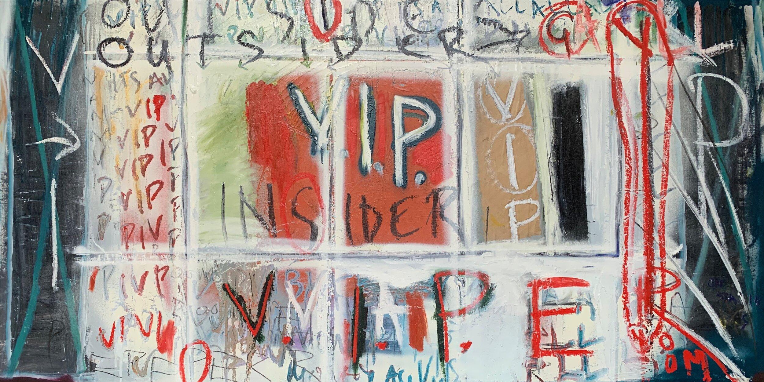 """- """"V.I.P""""1500mm W x 750mm HMixed Media on Canvas"""