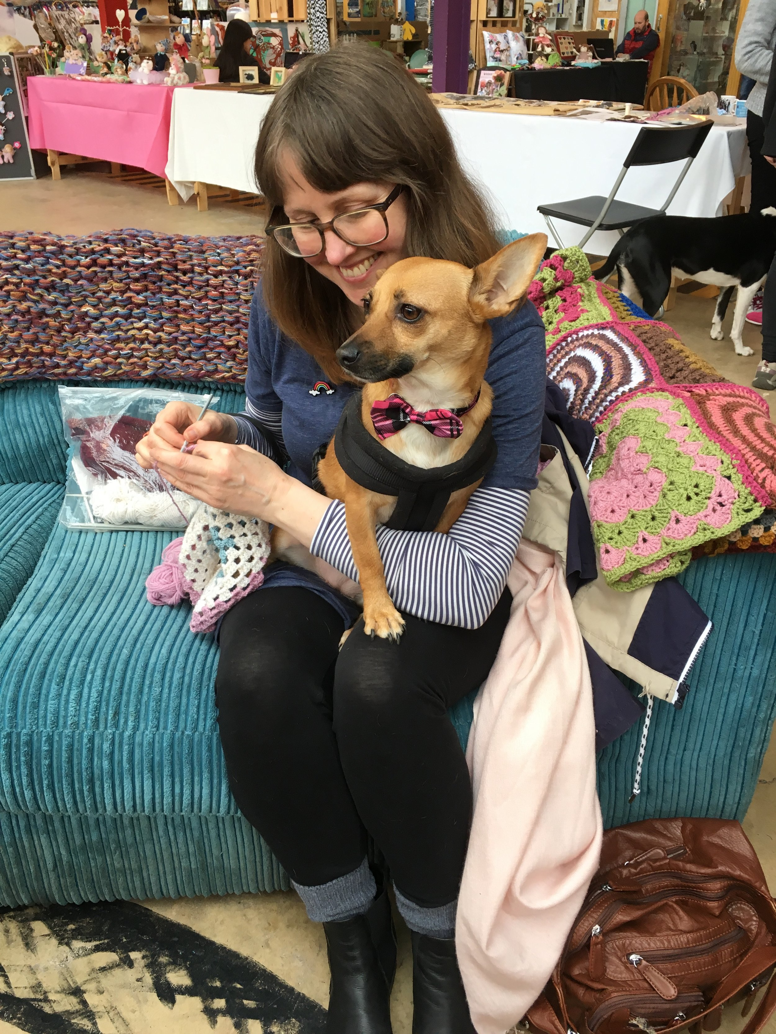 Tracey crocheting squares for the caravan cosy, with Penny's help!