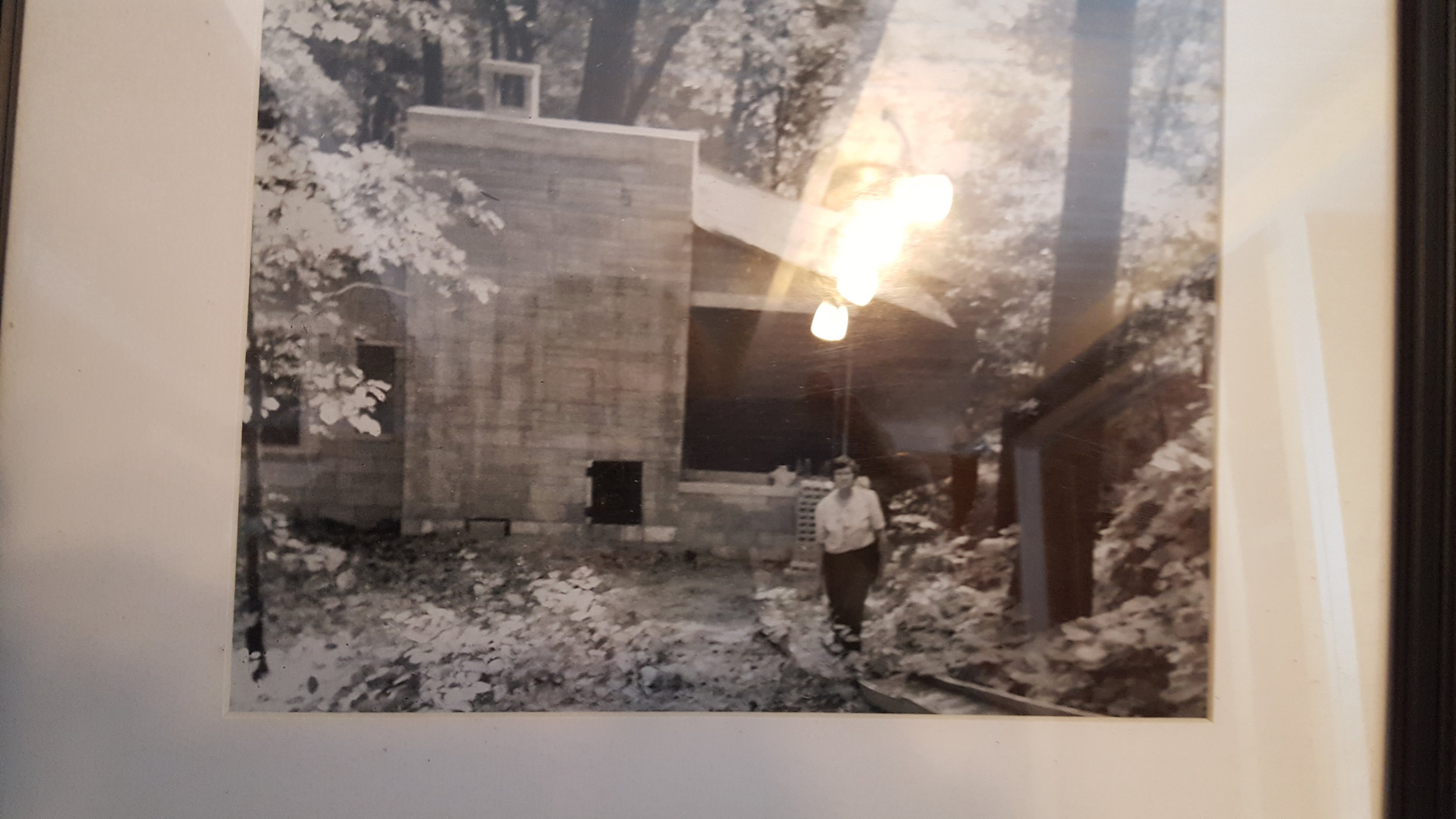 - My grandmother Alice Pustek in front of the cottage they built in Beverley Shores, IN.