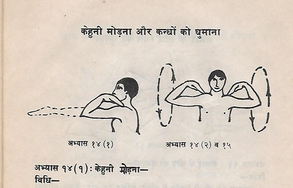 Imagen de un libro de mediados del siglo XX de  Swami Shivananda  en hindi donde se muestran algunos de los ejercicios de la serie, como la flexión y extensión del codo y la rotación de los hombros.
