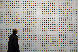 "Damien Hirst's painting, ""Urea-13C,"" at the Gagosian Gallery in New York in January 2012"