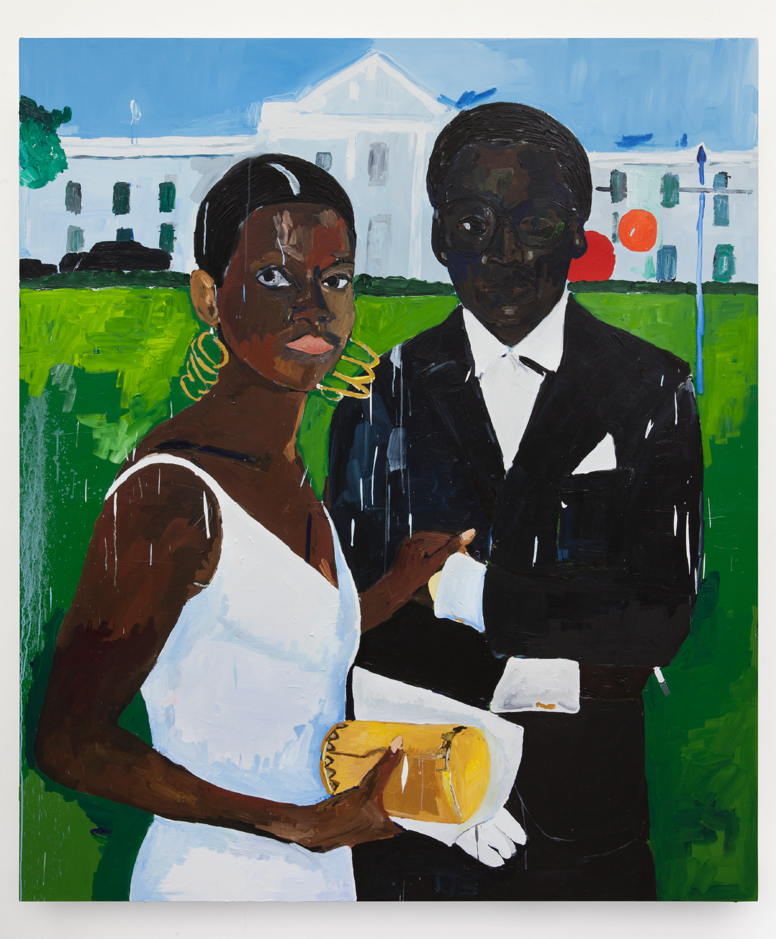 Henry Taylor  Cicely and Miles Visit the Obamas , 2017 , Acrylic on canvas ,  84 x 72 inches (213.4 x 182.9 centimeters)©Henry Taylor,Courtesy of the artist and Blum &Poe,Los Angeles/New York/Tokyo