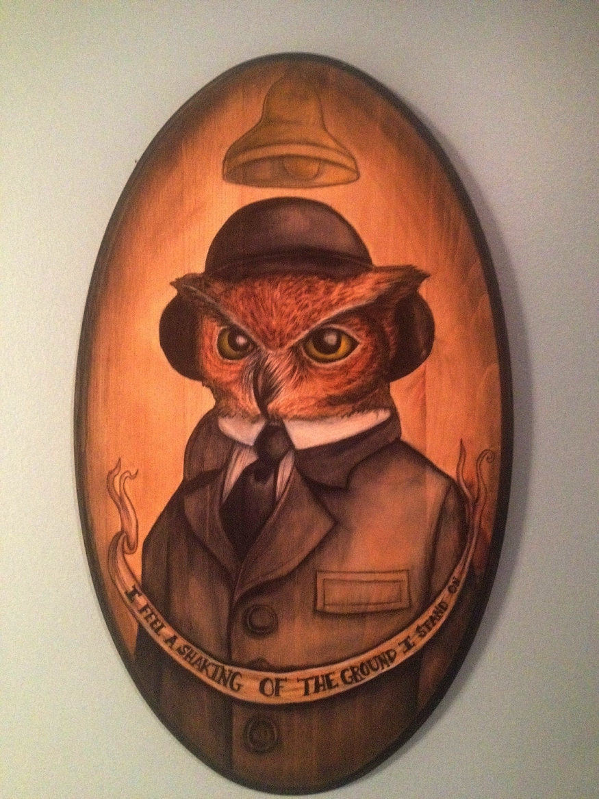 MR. CARSON THE OWL  Downton Abbey inspired, Mr. Carson the Owl. From my on going Downton Animalia series. I painted this owl illustration in watercolor on wood. I then finished it with some ink work. The panel measures two feet tall by one foot wide.