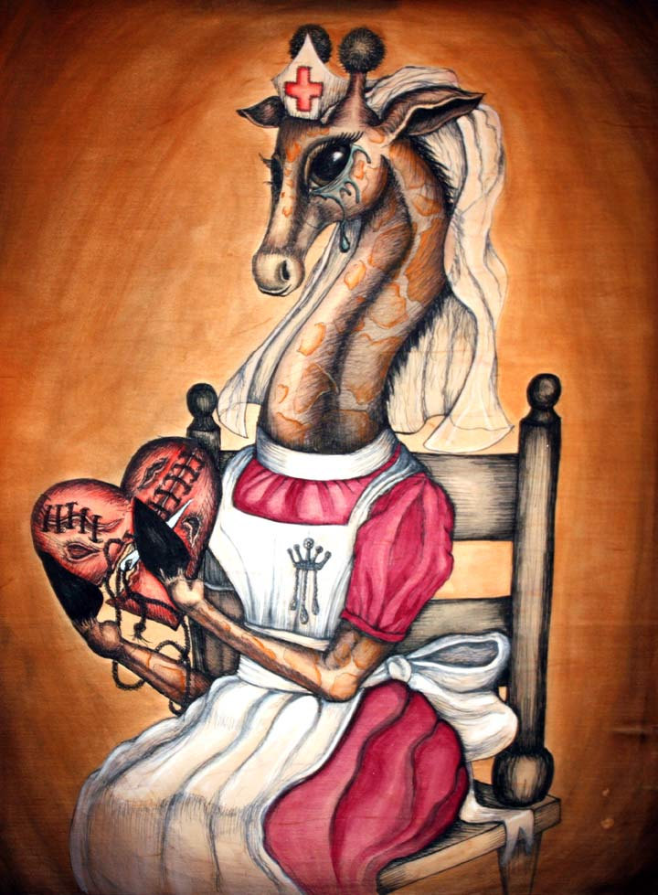 "HE BINDS THE BROKEN HEART  ""He heals the brokenhearted and binds up their wounds."" Psalm 147:3  This original anthropomorphic giraffe ink and watercolor illustration / painting is painted on a wood panel that is 18""x24"". The nurse is wearing a ""Madame Pomfrey"" style nurse outfit and she is waiting to nurse you back to health.It's so easy to have a broken heart. Such hard work to sew it back together. Everyone knows that the gentle nurturing giraffe makes the best nurse for such skilled work - the binding back together of a heart torn asunder.   Thank you to  David Bean  for the amazing pictures."