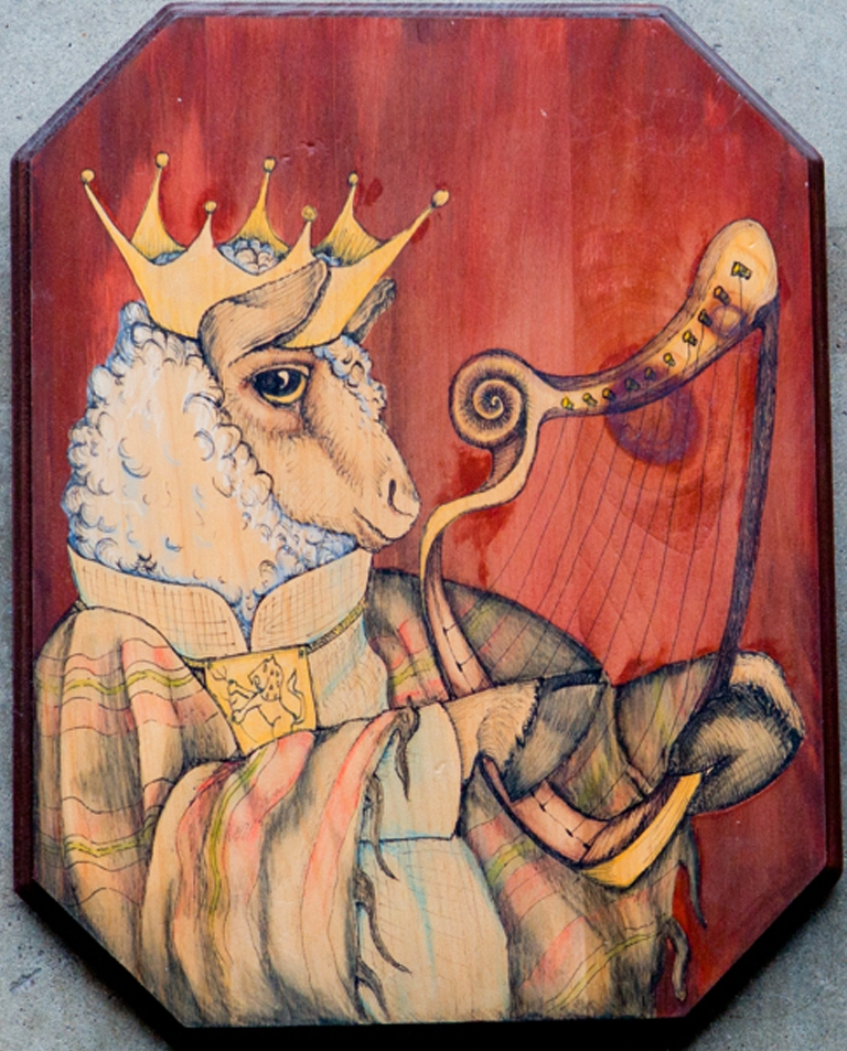 "KING DAVID THE LAMB  This painting of King David the Lamb is part of my Bible Bunny series,  a reverently irreverent celebration of the darker side of Bible stories. The Bible Bunny show was also a solo exhibit in the gallery at Undergrounds Coffehaus in Ft. Lauderdale, FL.  Here King David is portrayed as the sheep he cared for before he became the King of Israel. In Jewish lore David was the inventor of the lyre or small harp. The playing by his hand was said to be so sweet that it chased away evil and soothed the mentally ill. He is painted on a solid pine wood panel with watercolor and inked to life with the pen. This illustration is 14"" X 11""."