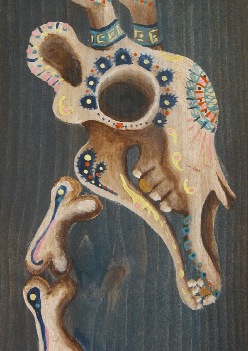 SEA GIRAFFE  This sea giraffe skeleton was painted with acrylic on a pine wood panel in the dia de los muertos style.