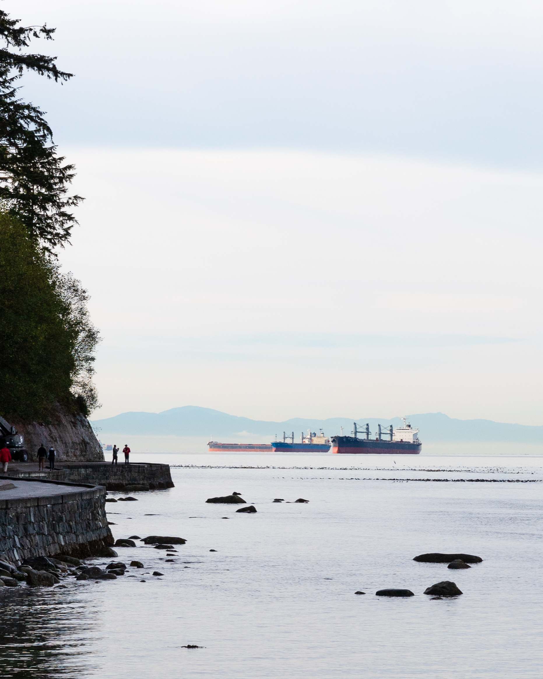 These ships parked up just off Stanley Park were arranged at a pleasing angle and disappearing into the haze nicely. I did wish I'd brought out my 80-200mm so I could get in closer but it is quite heavy.
