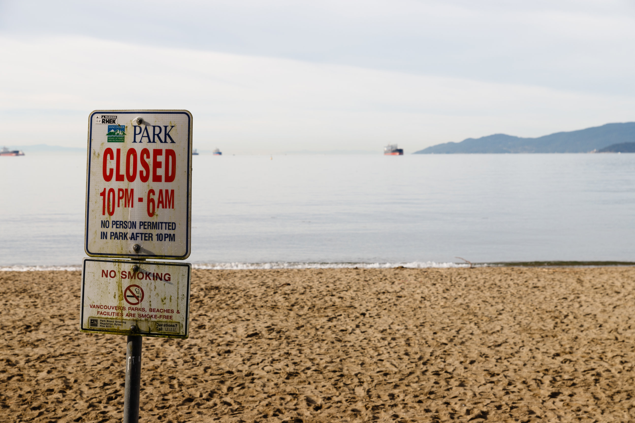 Not sure if the sign is telling park users overstaying their welcome to get in the sea... probably not.