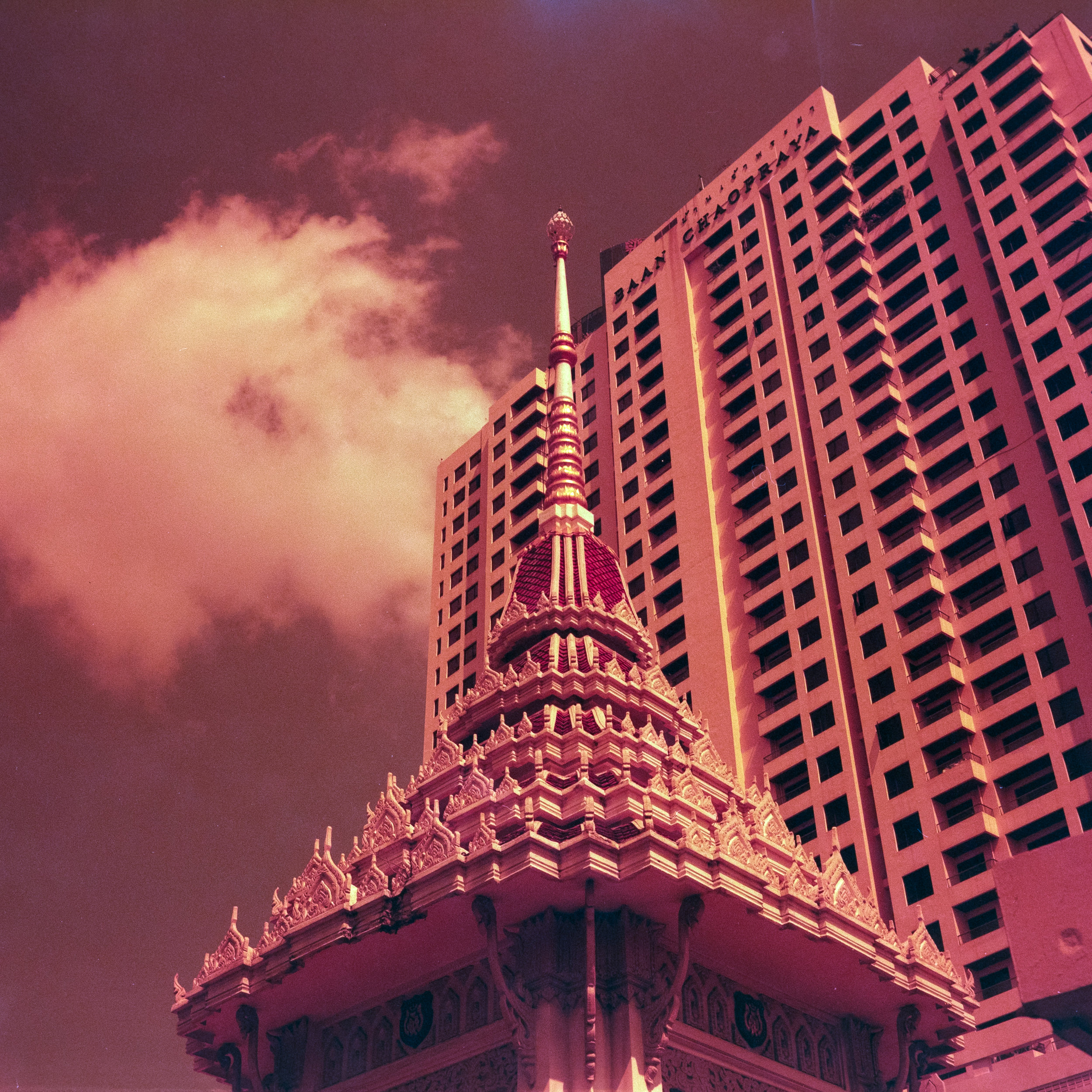 Not sure using Lomo Redscale really helped here it's what I used.