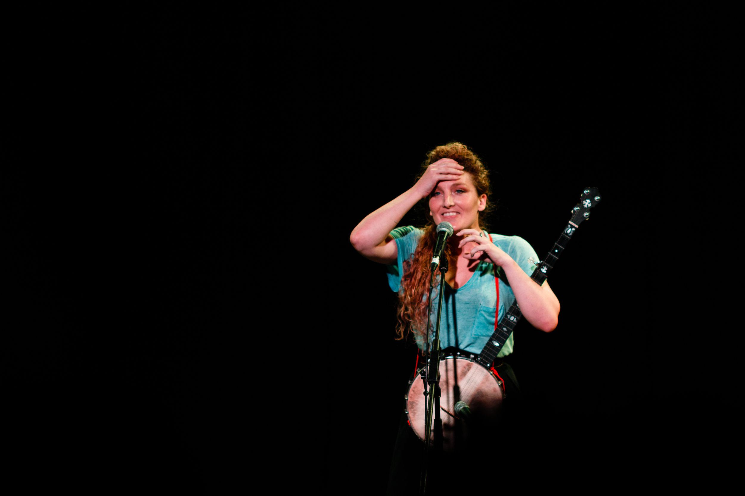 Alice Fraser  playing at an Amanda Palmer ninja gig.