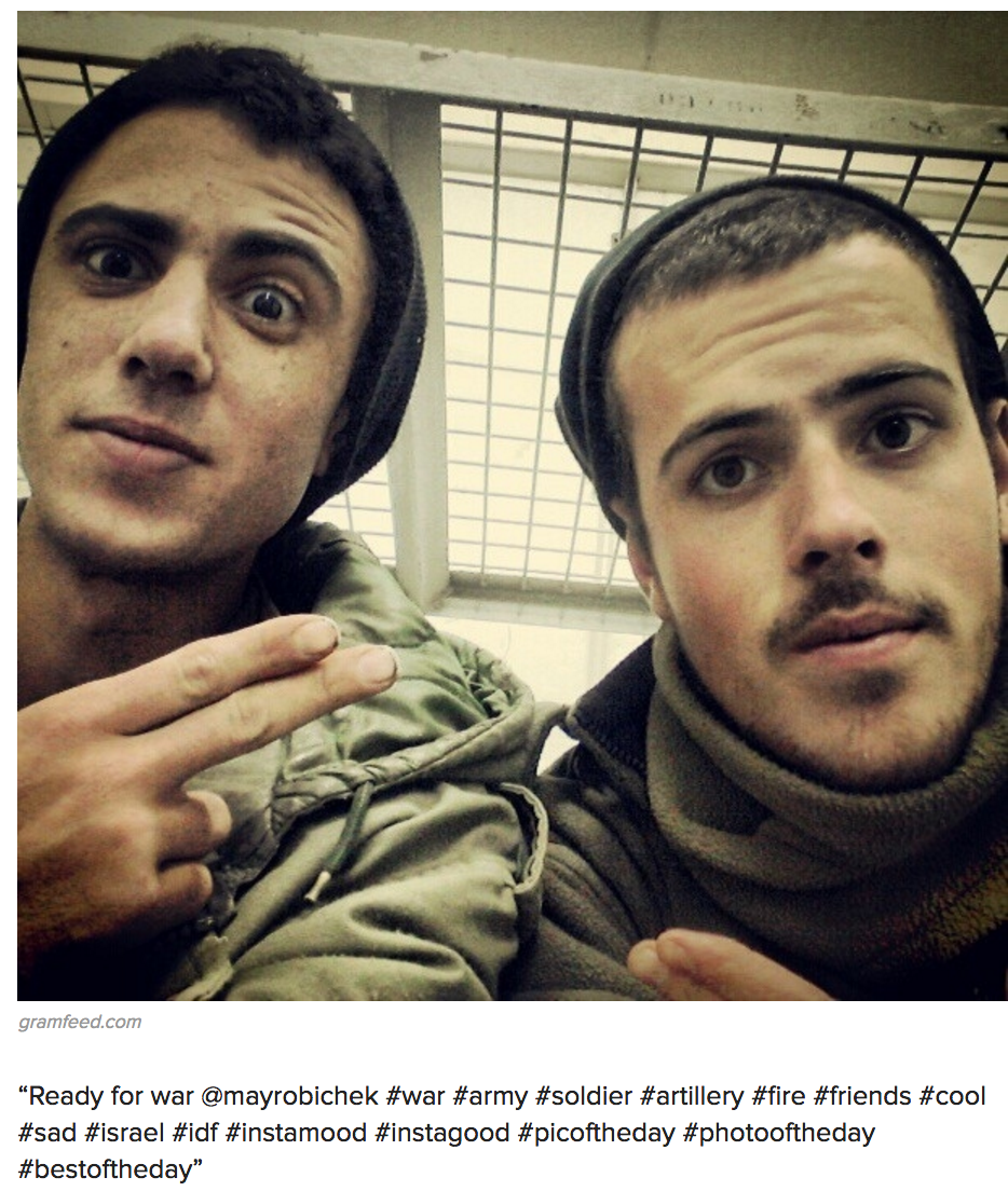 """Israeli Soldier Selfies, 2012. Source: Buzzfeed.   A. Kuntsman and R. L. Stein,  """"How Israelis Live Intimately with the Military Occupation In Their Digital Lives, """" Stanford Press Blog, May 2015."""