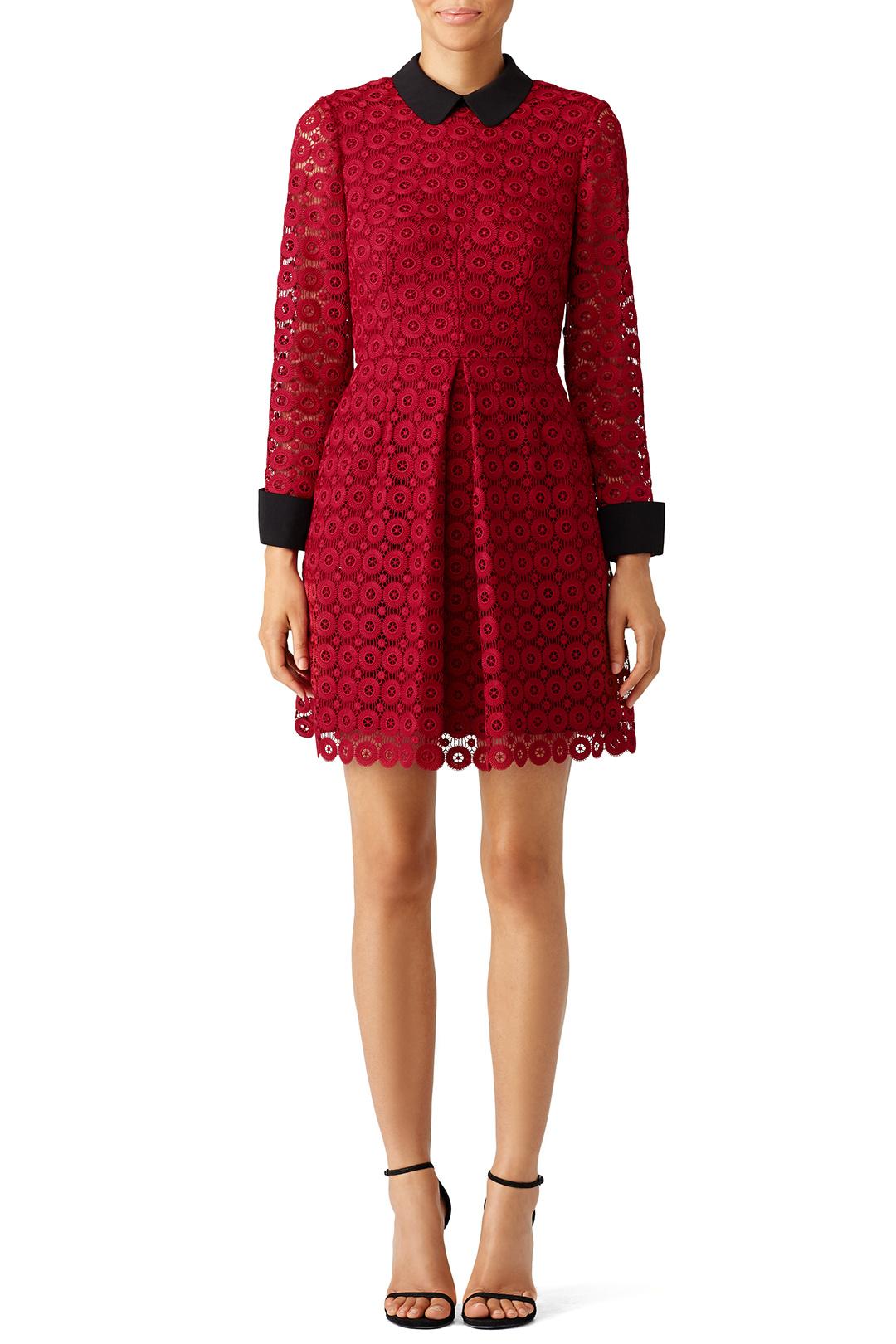 Jill Stuart Red Circular Lace Dress