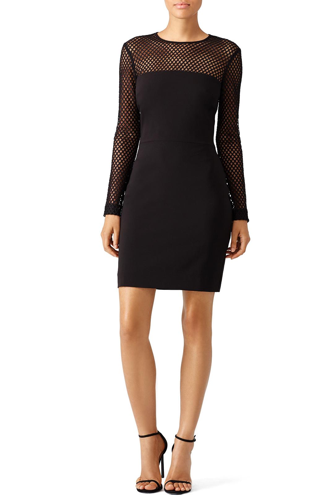 Nicole Miller Black Openwork Crepe Dress