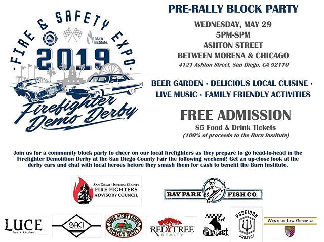 SAVE THE DATE! #THINKLOCAL join us for a community block party to cheer on our local firefighters as they prepare to go head to head in the Firefighter Demolition Derby at the San Diego County Fair the following weekend ! Get an up-close look at the derby cars and chat with local heroes before they smash them for cash to benefit the Burn Institute. @burninstitute @bayparkfishco @lucebarandkitchen @baciristorante @sieselsmeats @redtreerealty @poseidonproject #firefightersburninstitute #firefighterdemolitionderby #firefighteradvisorycounsel #applifiedmarketinggroup #morenadistrict #morenabusinessassociation