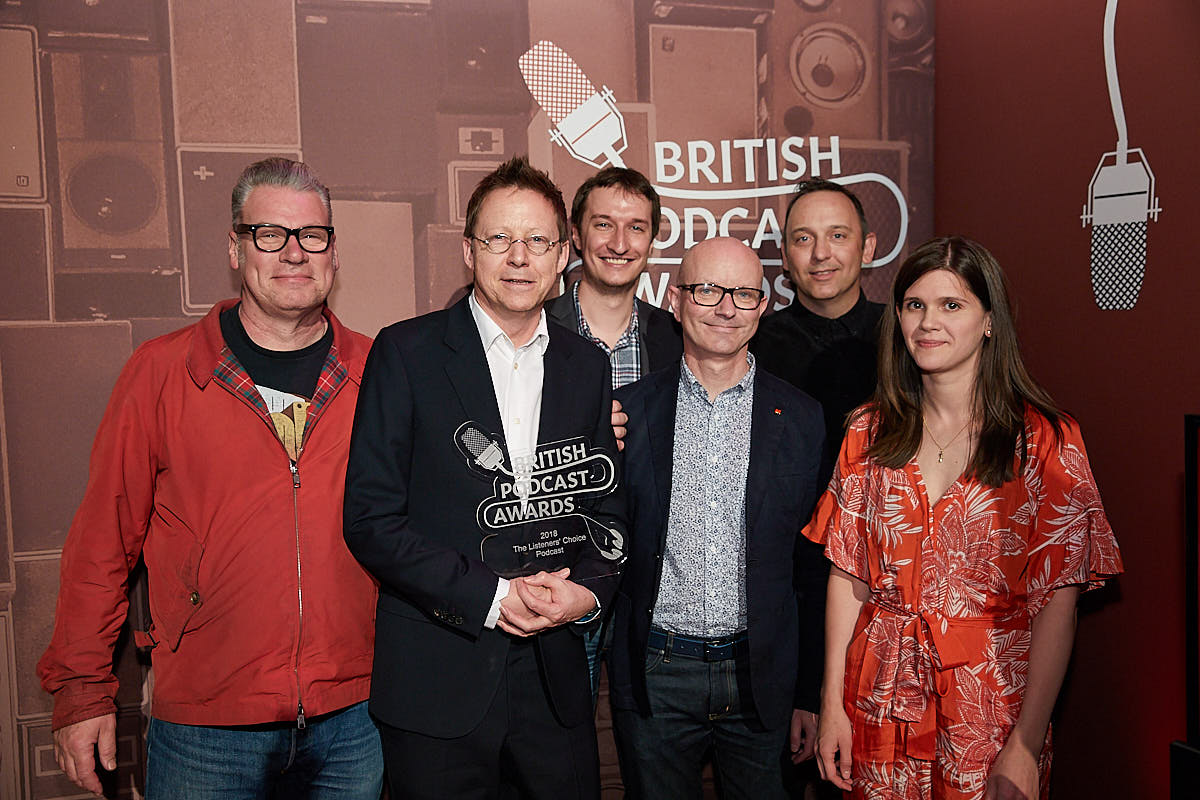 Mark Kermode & Simon Mayo, with their BBC 5 Live production team, winners of Listeners Choice 2018