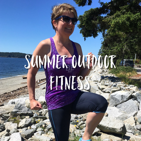 Routines change in the summer.  When you are at the beach, going to the park with the kids/grandkids, travelling on summer vacation, here are some outdoor fitness ideas! -