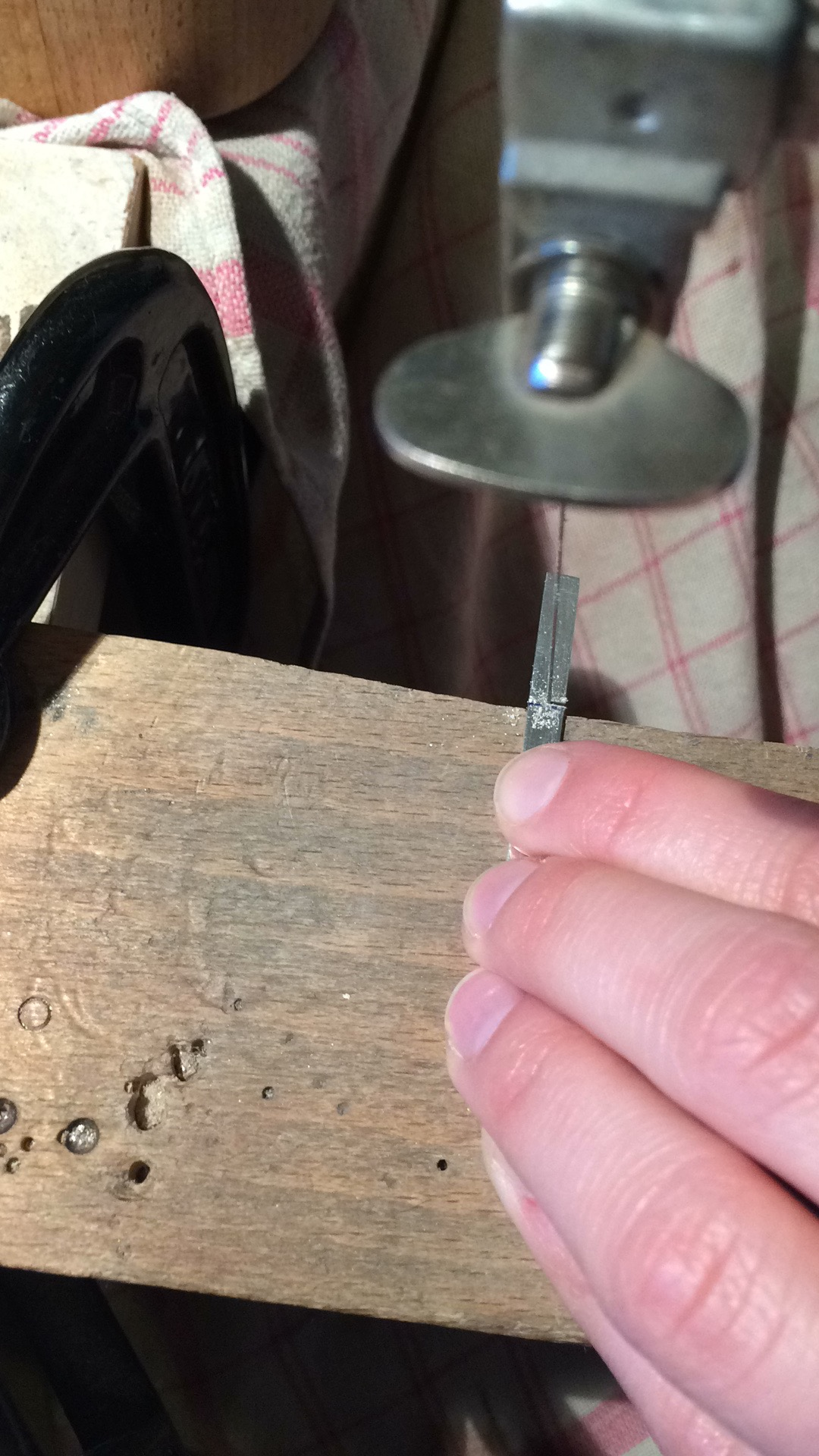 Sawing the correct length of silver for UK size F for her little finger (tiny!)