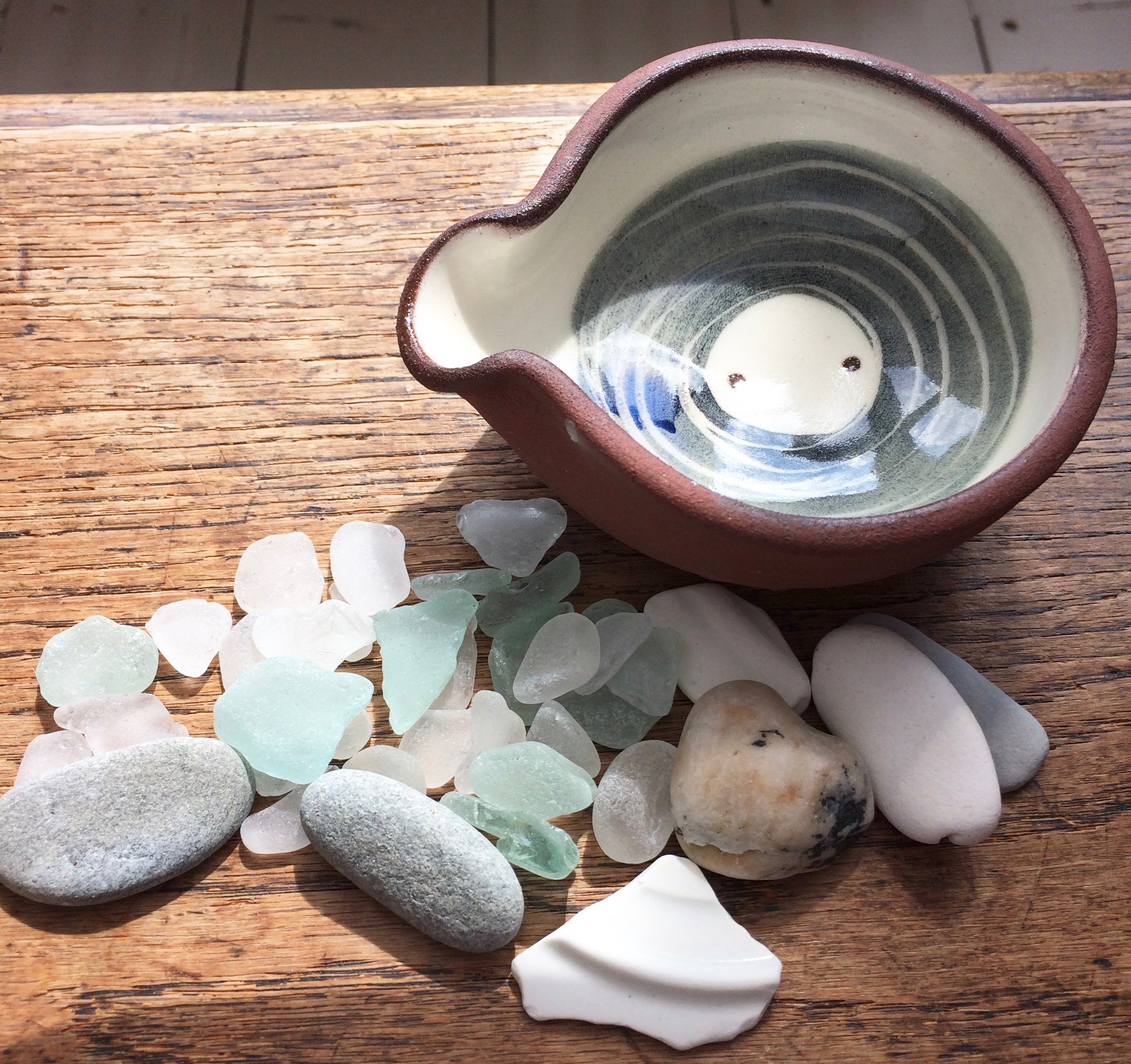 This year's little haul from the beaches of St Ives with sweet new pot bought from  Fish Pye Pottery  in Back Road East