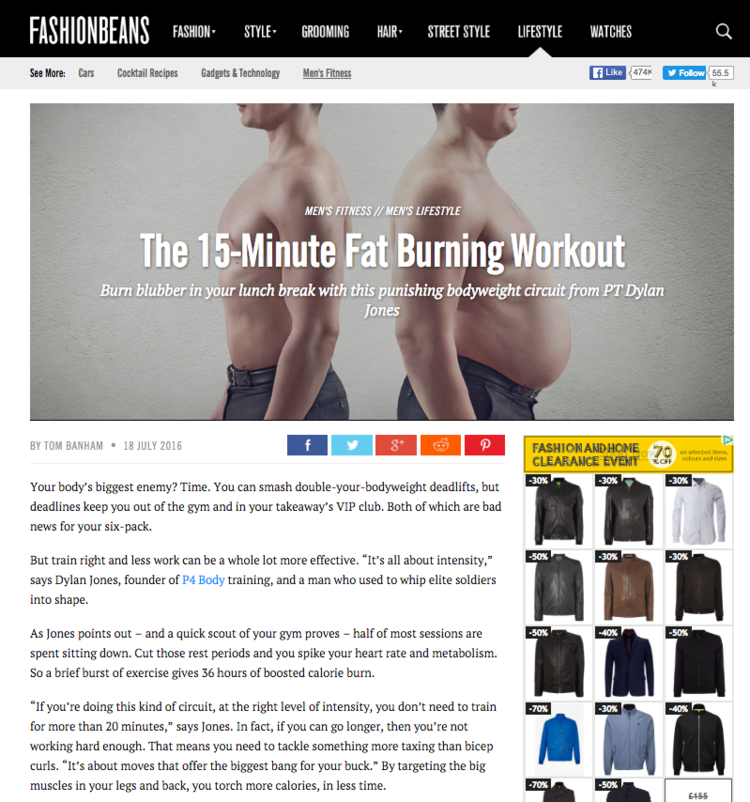 The 15 minute fat burning workout with P4 Body Co Founder Dylan Jones
