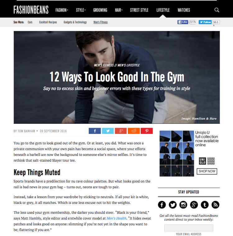 Look good in the gym tip by P4 Body Co Founder Dylan Jones in Fashion Beans