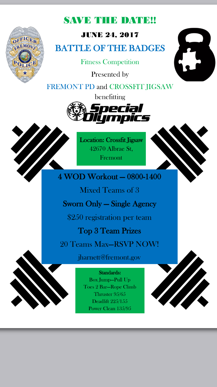 Police department competition we will be hosting in June