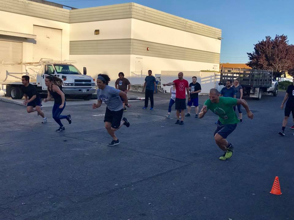 7pm class having fun with some sprint drills