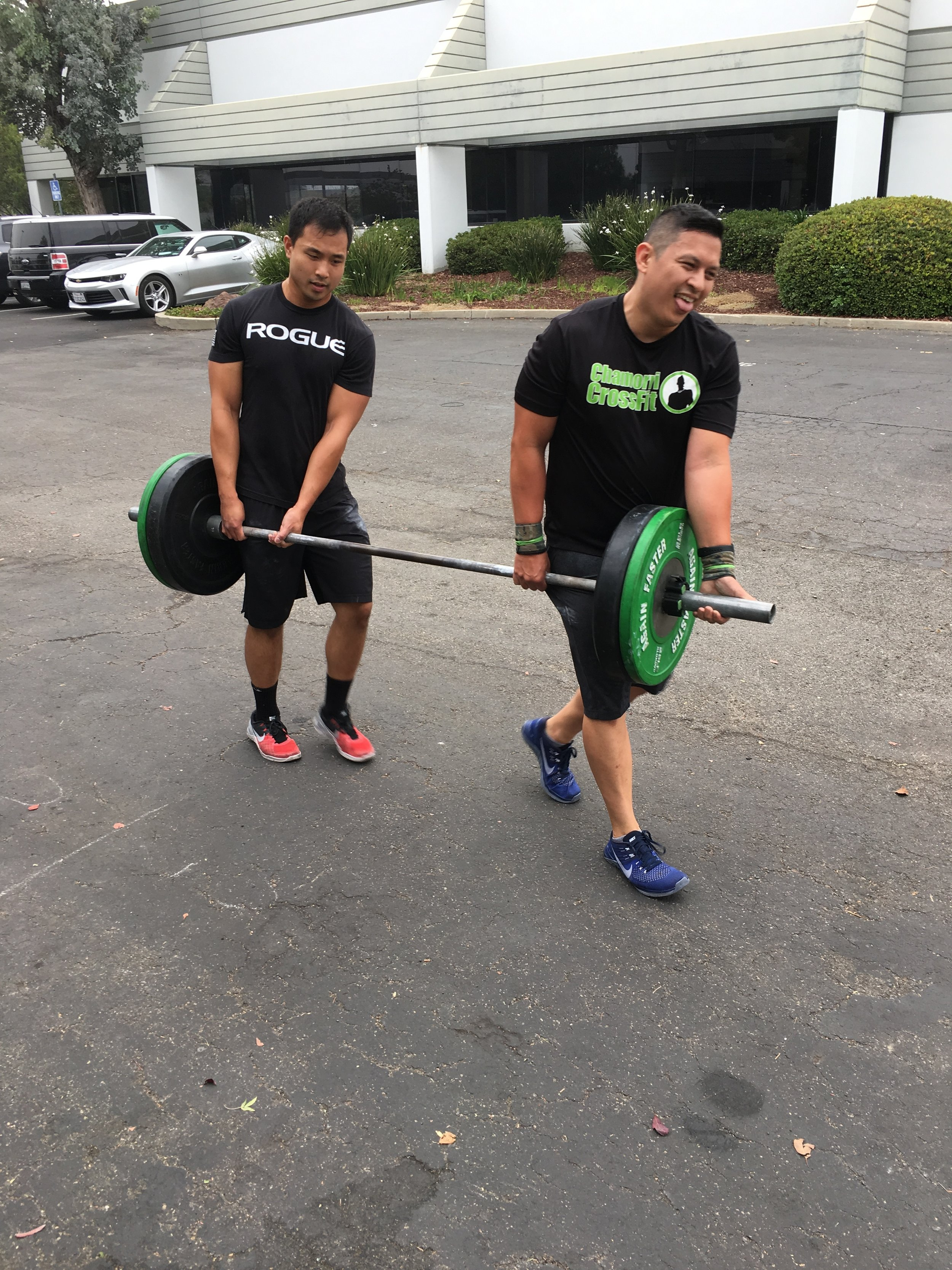 Justin and Ken chipping through the team workout Monday