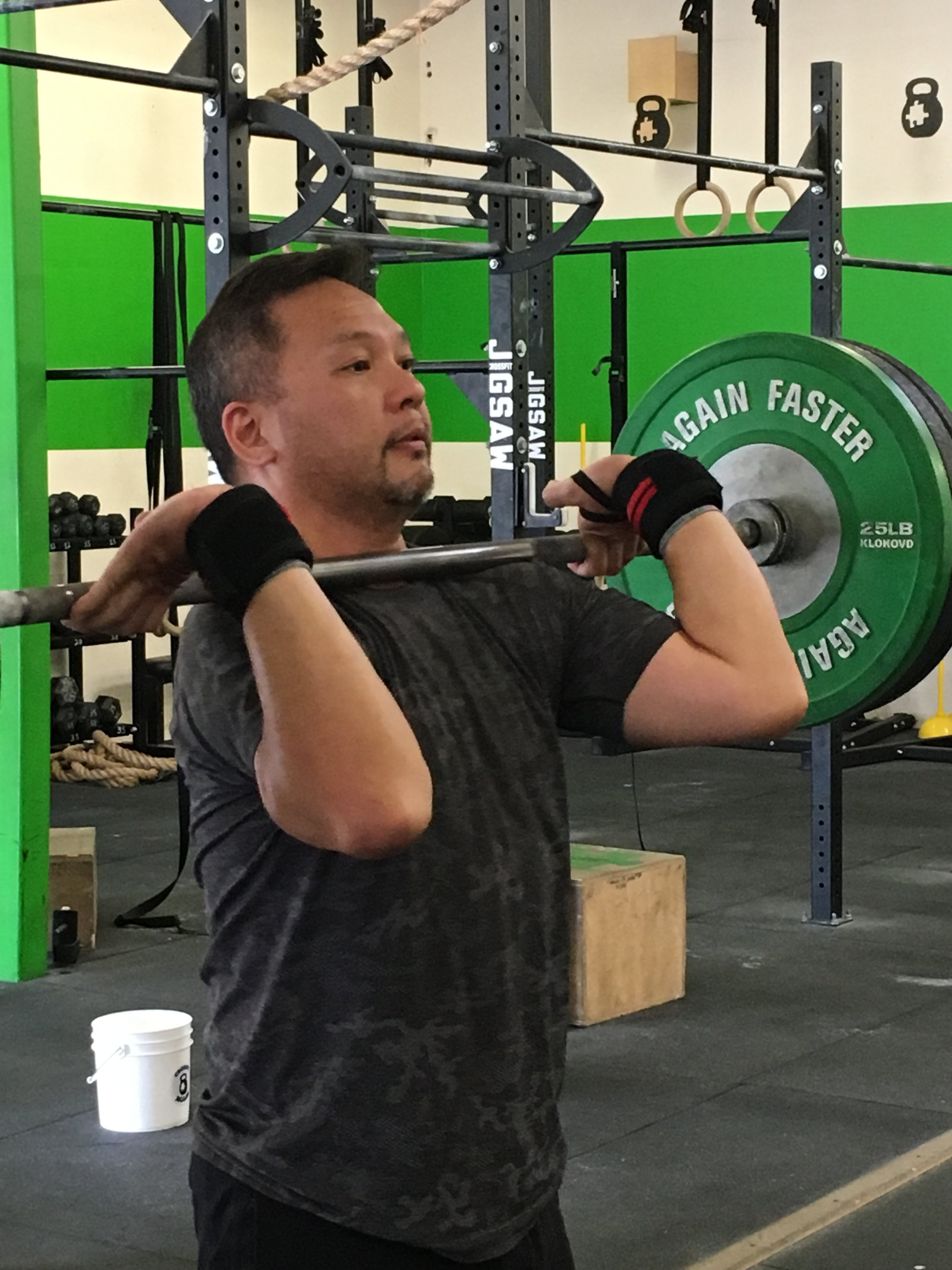 Marc with a calm and collected face during a heavy Clean and Jerk