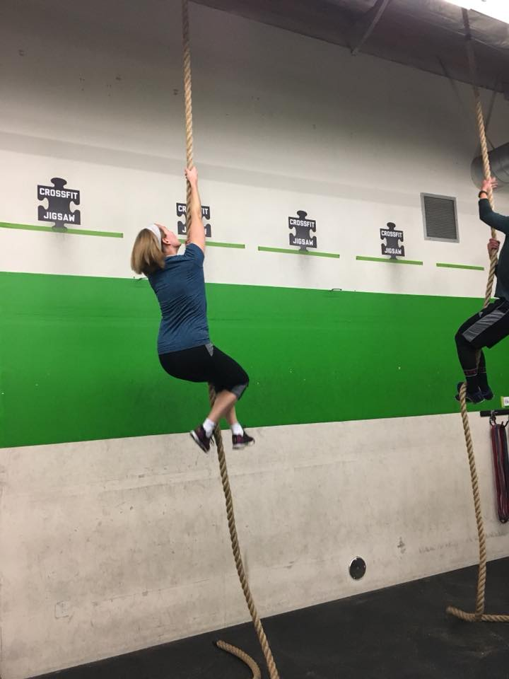 Alexis making her way up the rope on Mondays workout